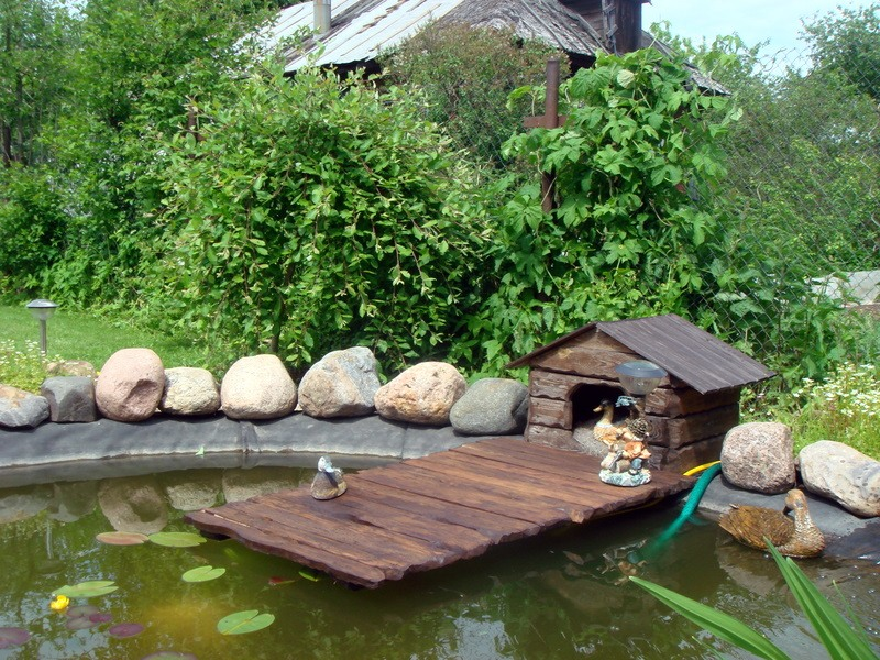 Мостик для пруда на даче своими руками 9